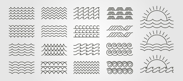 Imposta il design dell'illustrazione minima di vettore del logo dell'icona dell'onda in bundle, design del logo del pacchetto di onda di line art