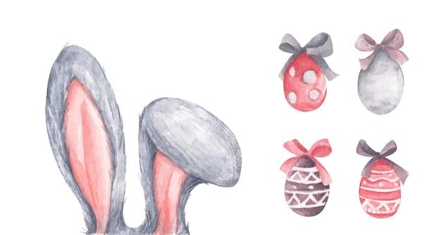 Set di orecchie di coniglio coniglietto con uova di pasqua e fiocchi.