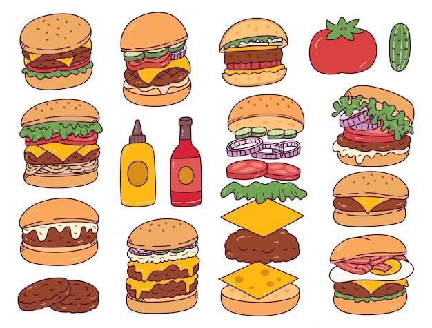 Set di scarabocchi di hamburger