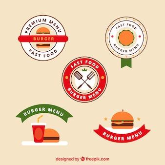 Set di logo di hamburger con elementi colorati
