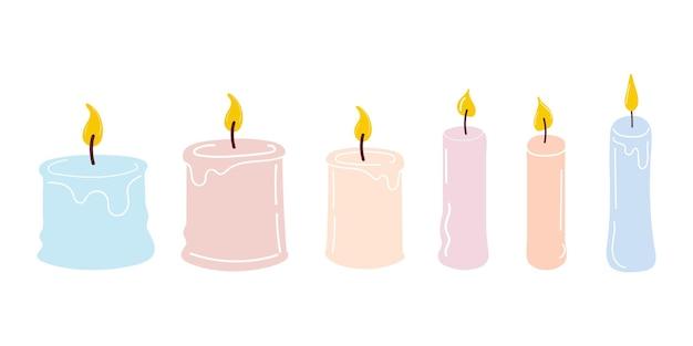 Una serie di candele accese. candela aomatica per aromaterapia e decorazione d'interni, isolata su sfondo bianco. illustrazione vettoriale piatta