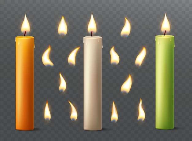 Set di candele accese con fiamme diverse. vaniglia, arancia e paraffina verde o cera su sfondo trasparente.