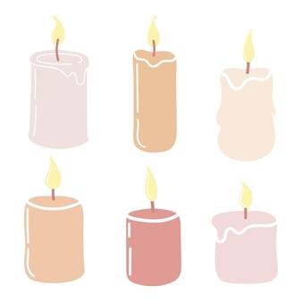 Set di candele profumate accese.illustrazione vettoriale