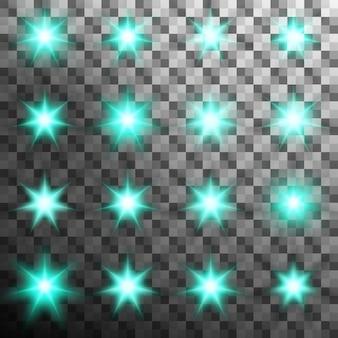 Set di bagliore flash luce burst con bagliore. sfondo trasparente solo in