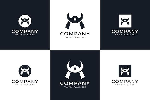 Set di design creativo del logo del casco bushido per tutti gli usi