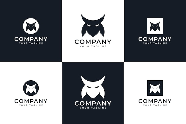 Set di design creativo con logo maschera bushido per tutti gli usi