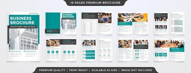 Set di modello di brochure aziendale con stile minimalista