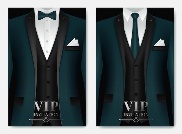 Set di modelli di biglietti da visita con tuta e smoking e posto per il testo per voi