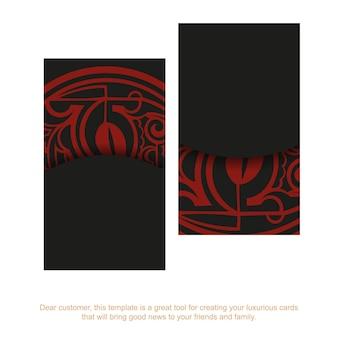 Un set di biglietti da visita in nero con ornamenti di una maschera maori rossa.