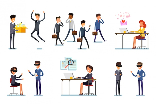 Set di personaggi aziendali che lavorano in ufficio. disegno di illustrazione vettoriale