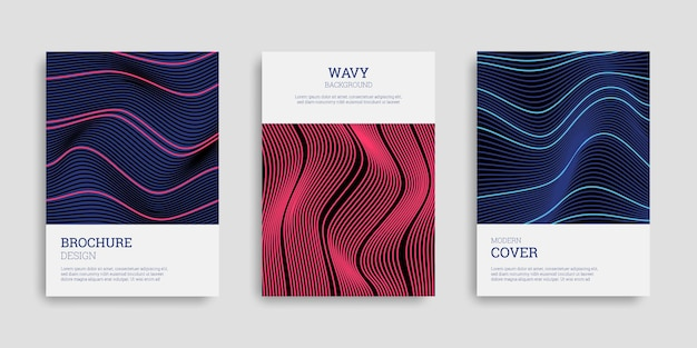 Set di copertine aziendali con strisce ondulate