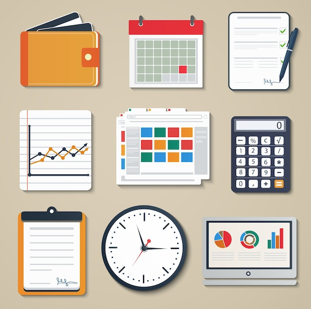 Insieme di elementi di business di marketing, reporting, web e icone del design mobile