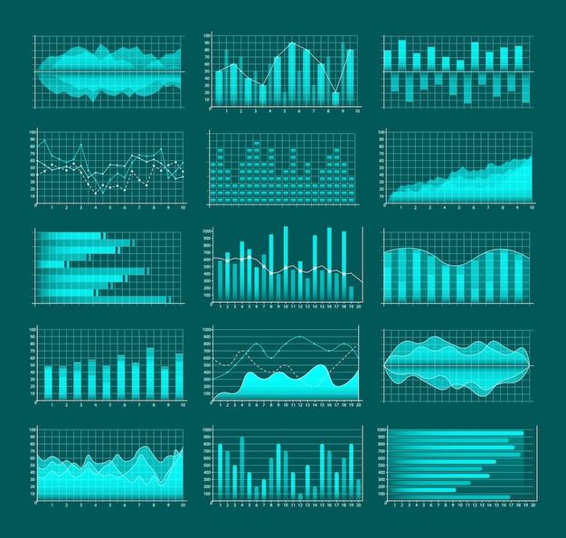 Set di grafici commerciali. infografiche e diagnostica, grafici e schemi. linee di tendenza, colonne, informazioni sull'economia di mercato. analisi e gestione delle attività finanziarie.