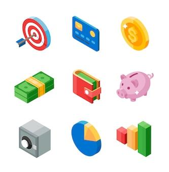 Set di icone piatte isometriche di affari. bersaglio, carta, moneta, contanti, portafoglio, maiale, cassaforte, diagramma e grafico. illustrazione.