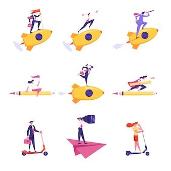 Set di personaggi di persone di affari che volano su un razzo