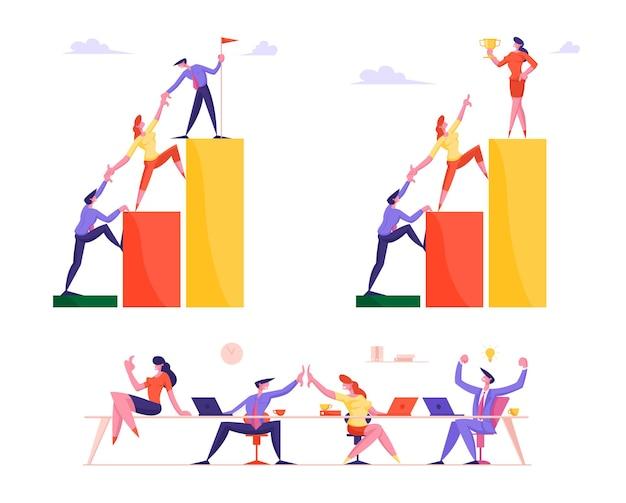 Insieme della gente di affari che si arrampica sulle scale del grafico e del grafico finanziario impostare la bandiera su