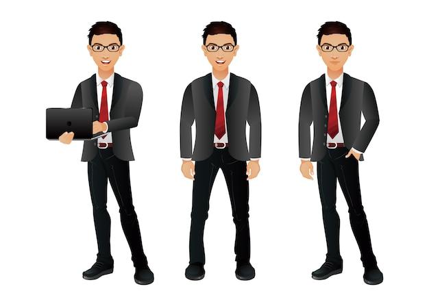 Insieme di uomini d'affari con pose diverse