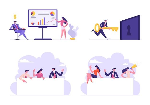 Set di presentazione aziendale con illustrazione di grafici finanziari