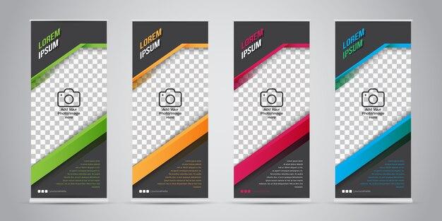 Set di business roll up banner con 4 colori varianti.