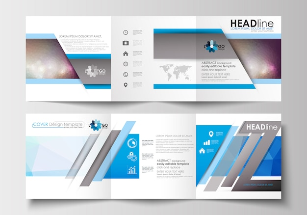 Set di modelli di business per brochure tri-fold. poligonale colorato.