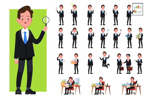 Set di pose, gesti e azioni di carattere uomo d'affari. impiegato professionista in piedi, camminare, parlare al telefono, lavorare, saltare, cercare e altro ancora.