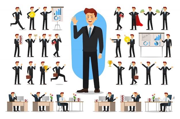 Set di caratteri dell'uomo d'affari.
