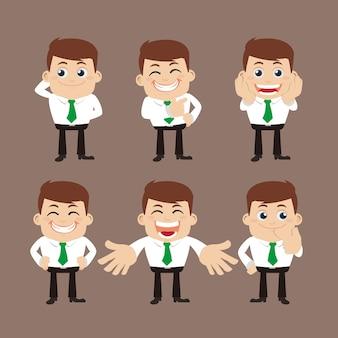 Set di caratteri dell'uomo d'affari in diverse pose