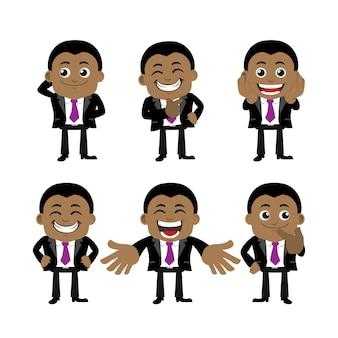 Set di caratteri dell'uomo d'affari in diverse pose.