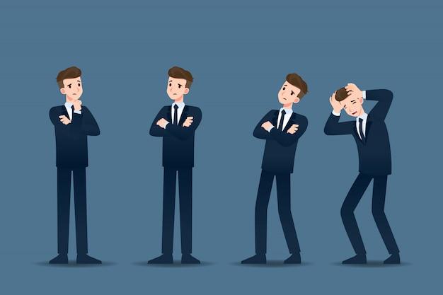 Set di uomo d'affari in diversi gesti.