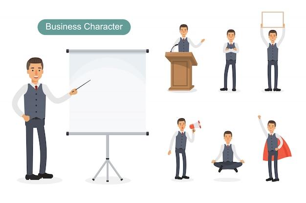 Set di uomo d'affari in diverse posizioni.