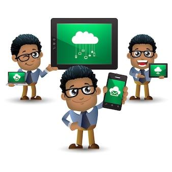 Set di uomo d'affari con diversi dispositivi