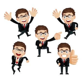 Set di uomo d'affari con emozioni diverse