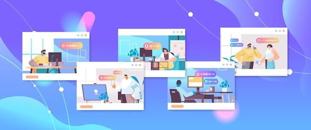 Impostare gli imprenditori comunicare in messaggistica istantanea tramite messaggi vocali applicazione di chat audio social media concetto di comunicazione online illustrazione vettoriale ritratto orizzontale