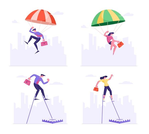 Insieme di persone di affari che cadono con il paracadute e che camminano sui trampoli entrano nella trappola che si trova a terra