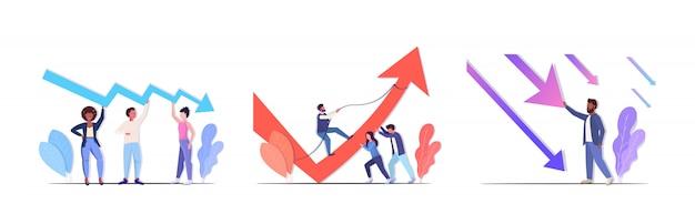 Impostare imprenditori frustrati per la freccia economica che cade crisi finanziaria rischio di investimento in bancarotta
