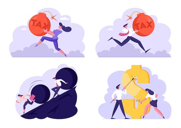 Set di pagamento delle tasse di uomini d'affari, fuga di enorme rock rotolante