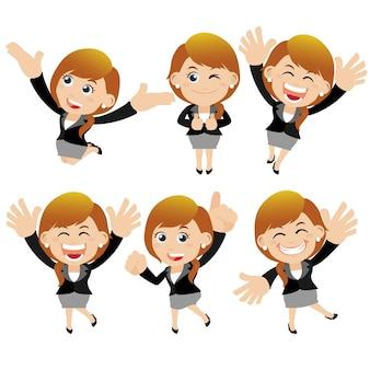 Set di personaggi di donna d'affari in diverse pose