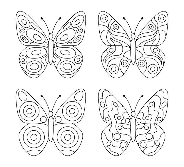 Set di farfalle per elemento di design per la pagina del libro da colorare per bambini