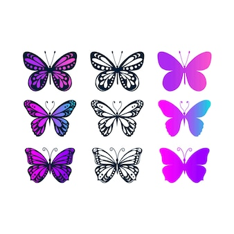 Set di farfalle isolate su sfondo bianco in formato vettoriale molto facile da modificare