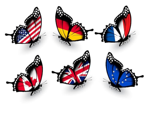 Set di farfalle con bandiere diverse. vettore