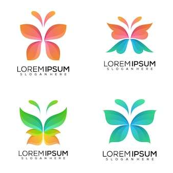Set di disegno del logo farfalla