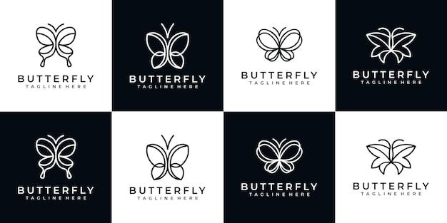 Set di design logo minimalista farfalla