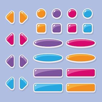 Un insieme di pulsanti di diversi colori e forme