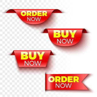 Set di banner acquista e ordina ora. etichette di vendita rosse. adesivi.