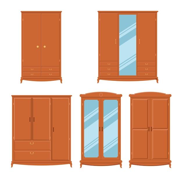Set di armadi armadi per corridoi deposito di vestiti mobili per la casa accoglienti con ante e cassetti