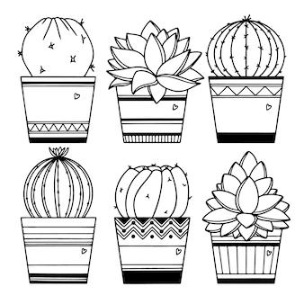 Set di cactus in vasi isolati su sfondo bianco. schizzo di piante grasse.