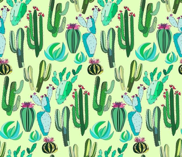Set di una pittura di cactus come bambino su sfondo verde chiaro