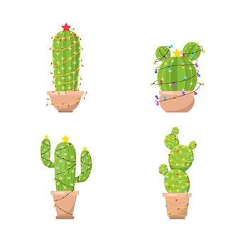 Set di cactus con ghirlande di capodanno. feliz navidad.