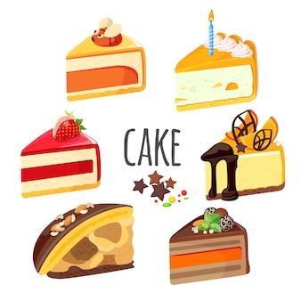 Set di pezzi di torta con ripieno di frutta, cioccolato bianco e nero, gelatina di risata e cheesecake