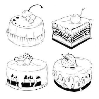 Set di torte. dolci isolati su uno sfondo bianco.